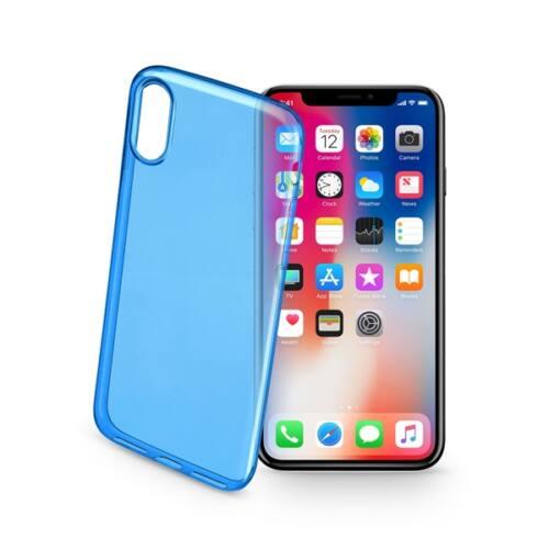 Cellularline tok, Color Case, ultra vékony, átlátszó, gumi iPhone X, kék